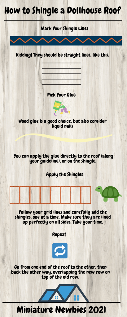 How to Shingle a Dollhouse Roof Infographic