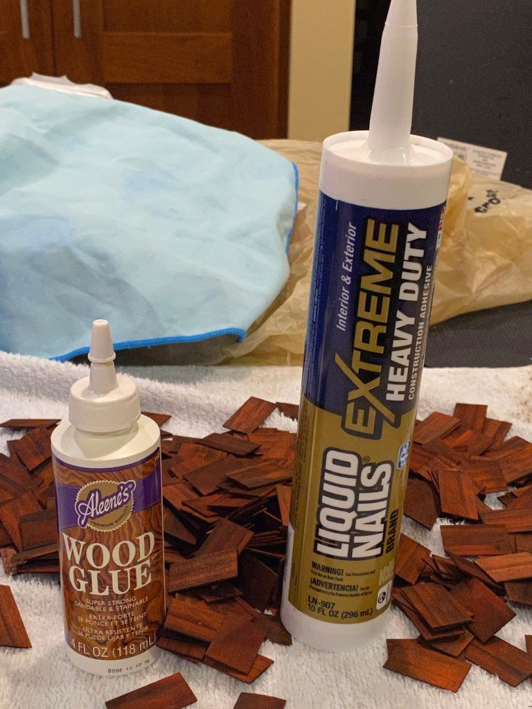 A picture of wood glue and liquid nails